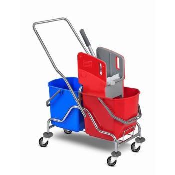 Upratovací vozík 2 x 25l vedrá, chrom. konštrukcia , žmýkací lis, bez vaničky