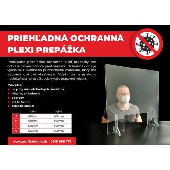 Priehľadná ochranná PLEXI prepážka 650x860 mm