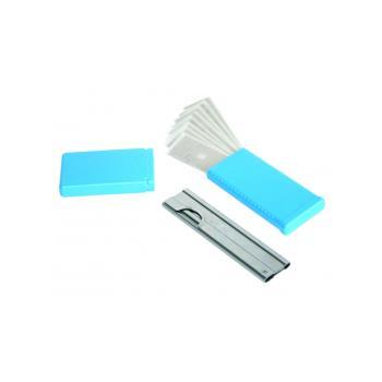 Škrabka na sklo kovová 10cm + 10 nožov