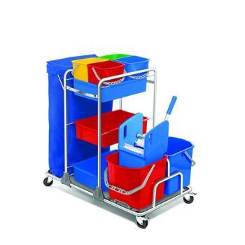 Servisný upratovací vozík 4x6L a 2x25L vedrá, chrómová konštrukcia, žmýkací lis