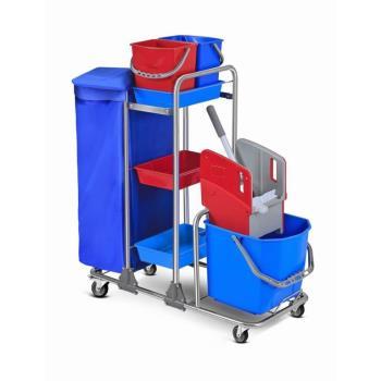 Servisný upratovací vozík 2x6L a 1x25L vedrá, chrómová konštrukcia, žmýkací lis