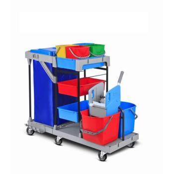 Servisný upratovací vozík 4x6L a 2x25L vedrá, plastovokovová konštrukcia, žmýkací lis