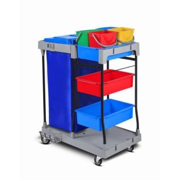 Servisný upratovací vozík 4x6L vedrá, pevná plastovokovová konštrukcia