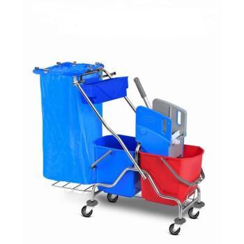 Upratovací vozík 2x25l,chrom. konštrukcia, žmýkací lis, úchyt na vrece
