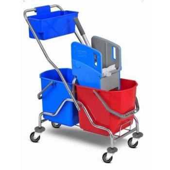Upratovací vozík 2 x 25l vedrá, chrom. konštrukcia , žmýkací lis